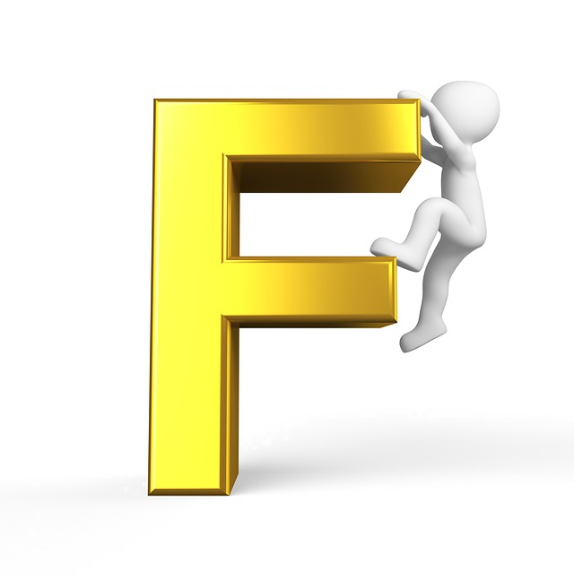 letter F sign in gold